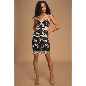 Lulu's Karina Floral Embroidered Mesh Peplum Dress
